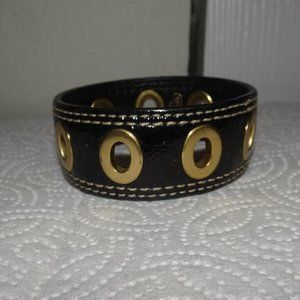 Coach Grommet Black Leather Bracelet